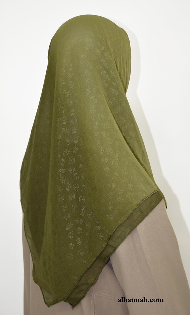 Georgette Square Hijab with Jacquard Floral Pattern hi2062