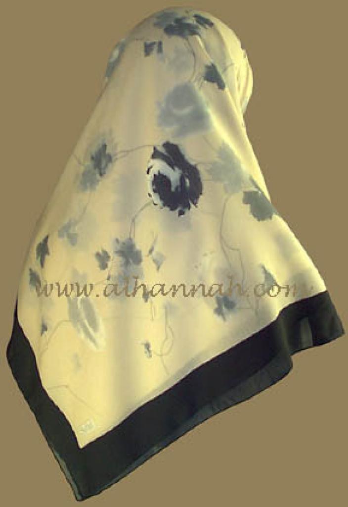 Turkish Solid Border Floral Print Hijab   hi330