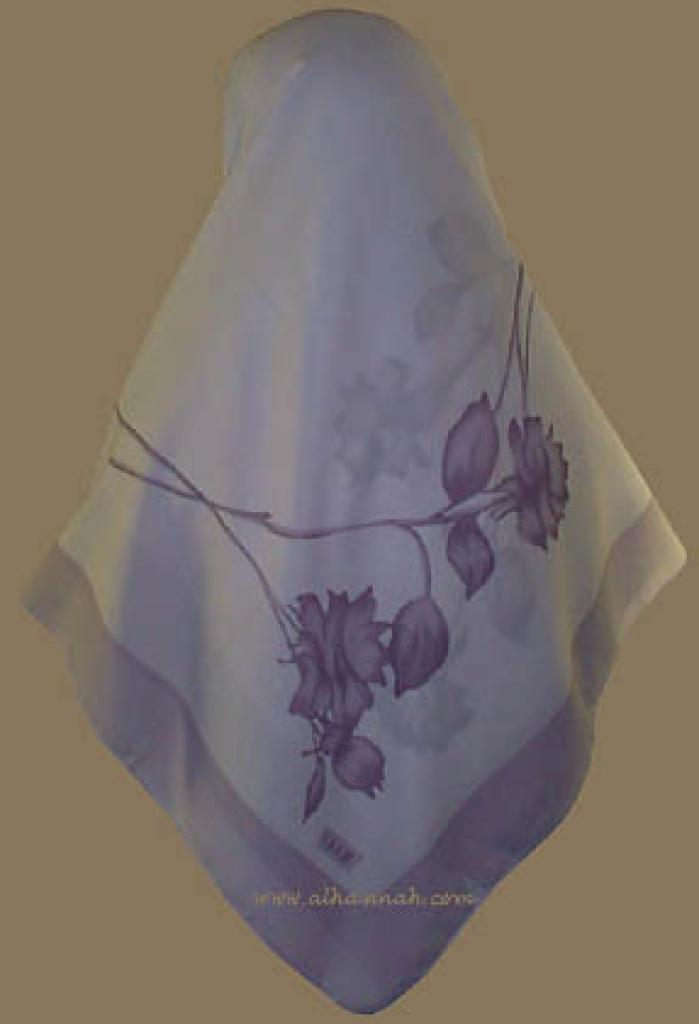 Turkish Solid Border Floral Print Hijab   hi705