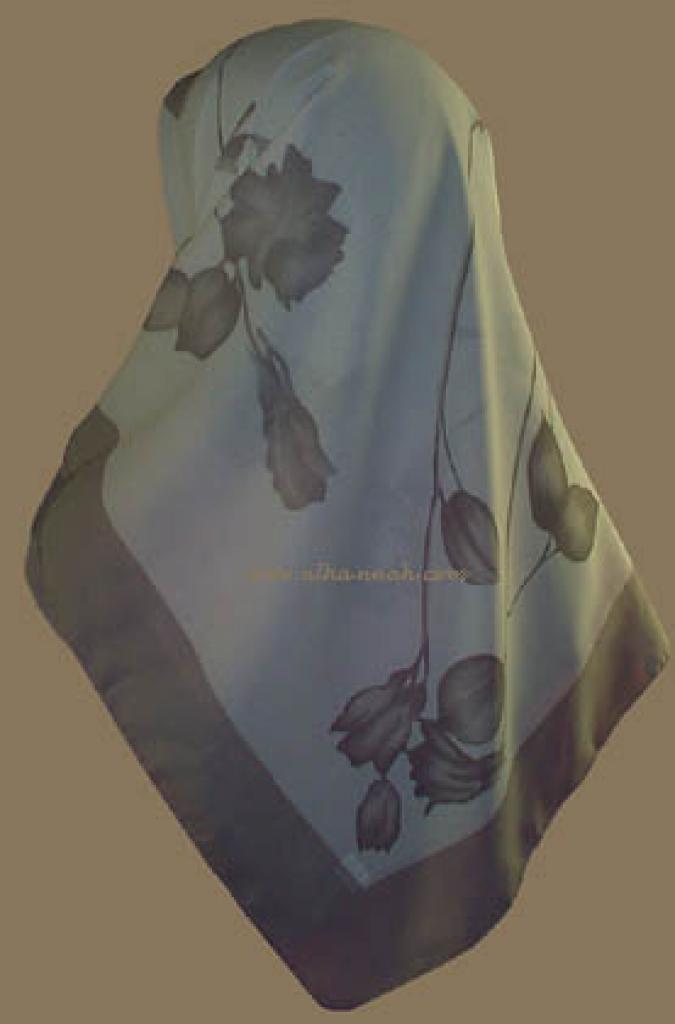Turkish Solid Border Floral Print Hijab   hi707