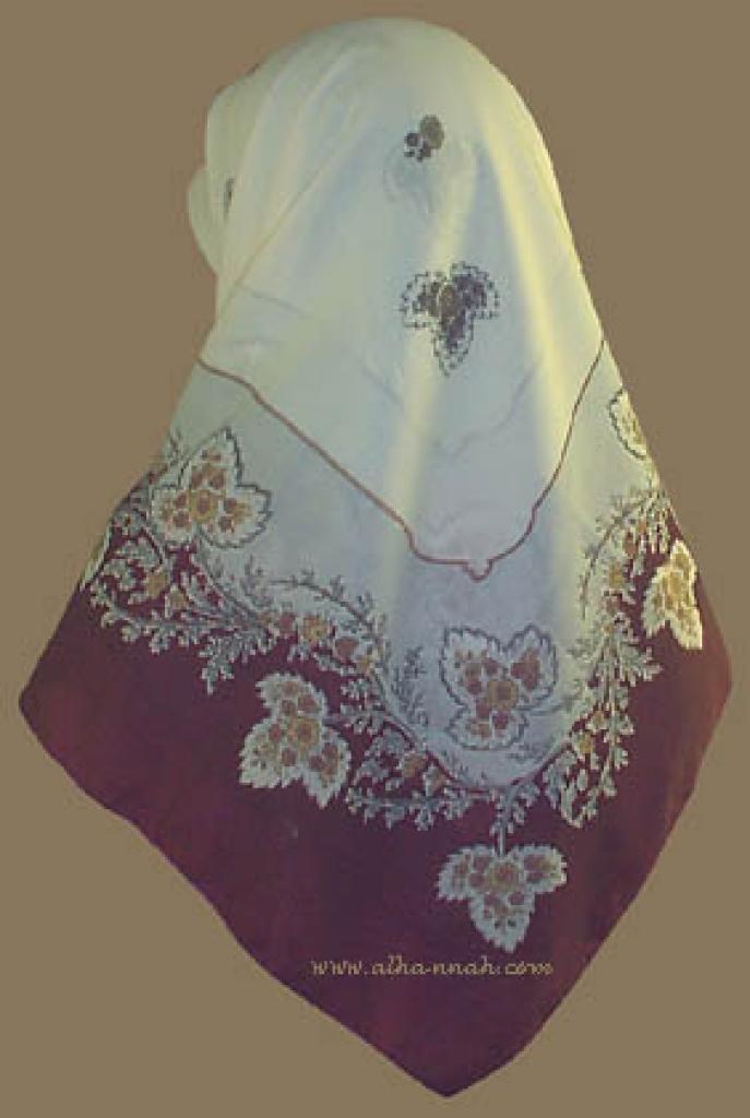 Traditional Turkish Solid Border Floral Print Hijab  hi709