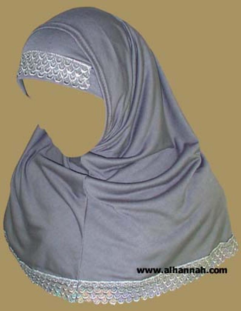 Two Piece Religious Veil - Scallop Lace Edge   hi882