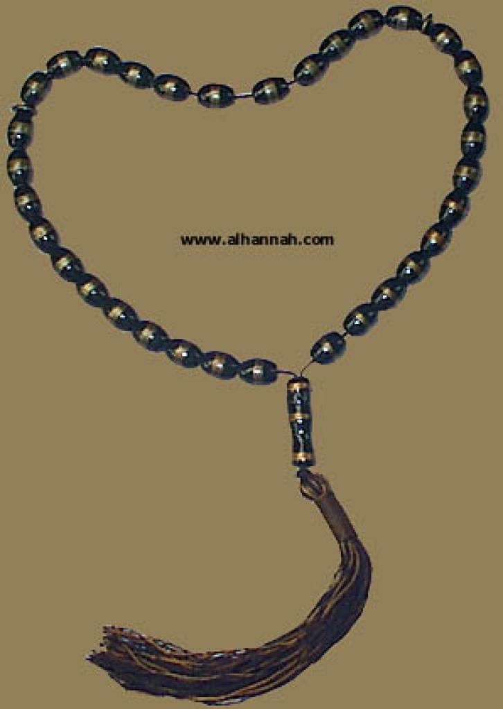 Black and Gold Enameled Prayer Beads ii430