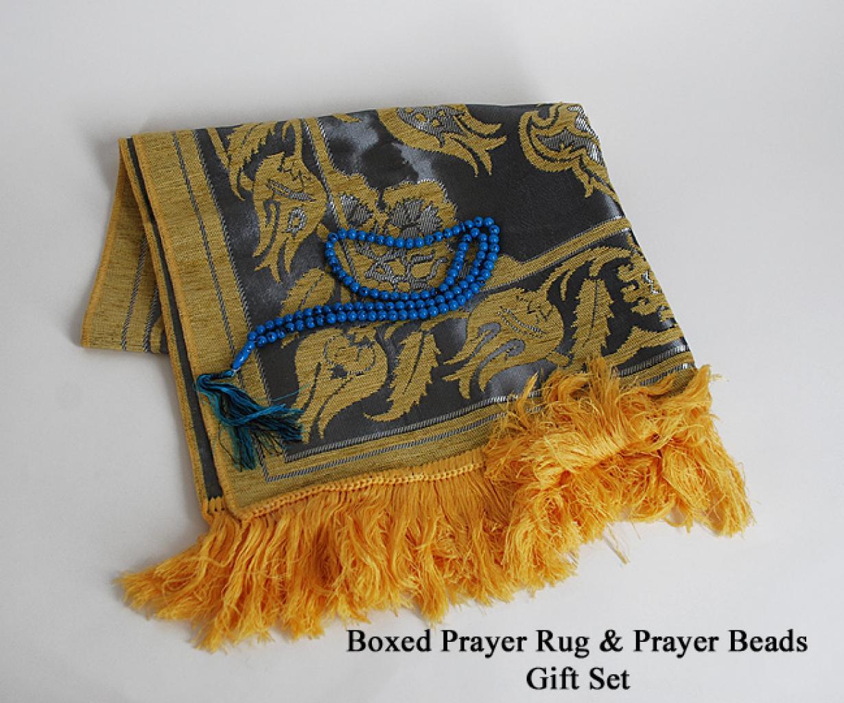 Boxed Premium velour woven prayer rug with Beads gift set ii640
