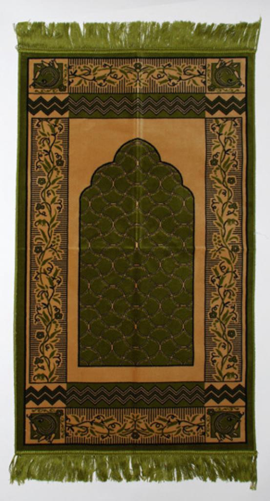 Green Floral Lace Pattern Islamic Prayer Rug ii802