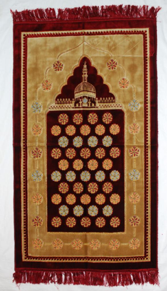 Woven Geometric Flower Pattern Prayer Rug ii907