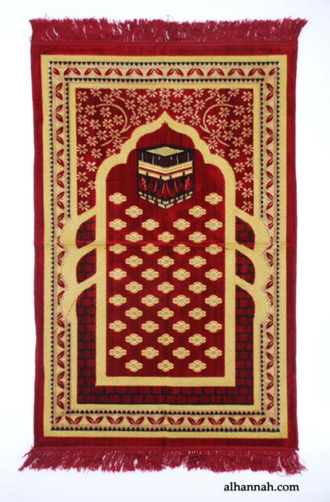 Embroidered Kaaba Pattern Prayer Rug ii986