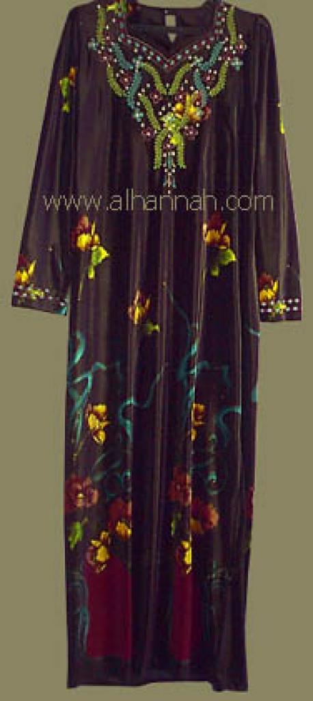 Embroidered Jordanian Velveteen Thobe  jo416