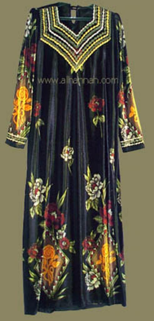 Embroidered Jordanian Velveteen Thobe  jo417
