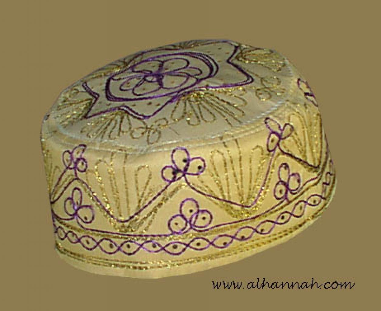 Tan Embroidered Kufi  me420