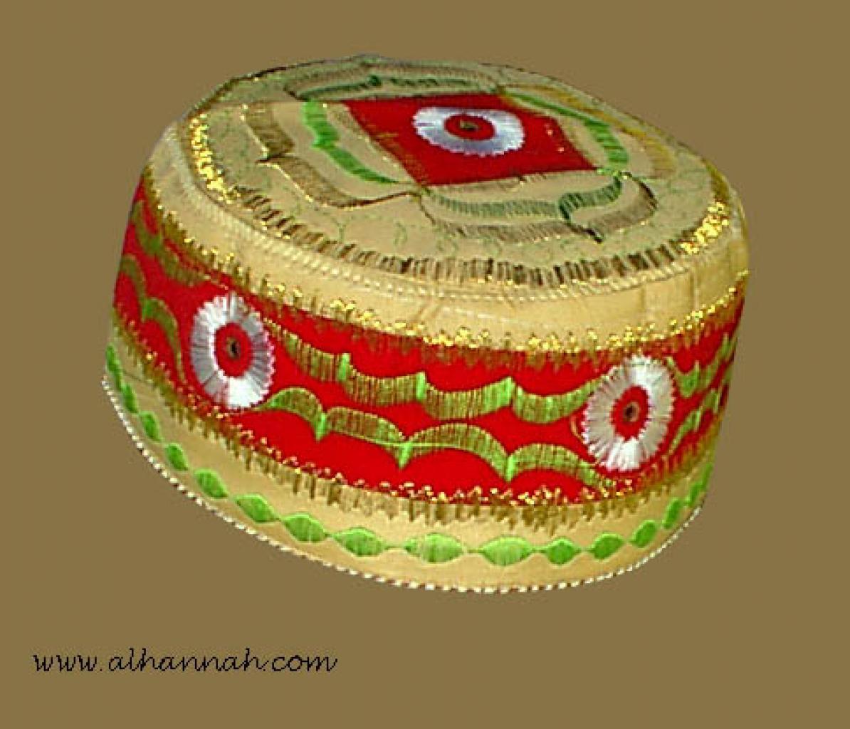 Tan Embroidered Kufi me421