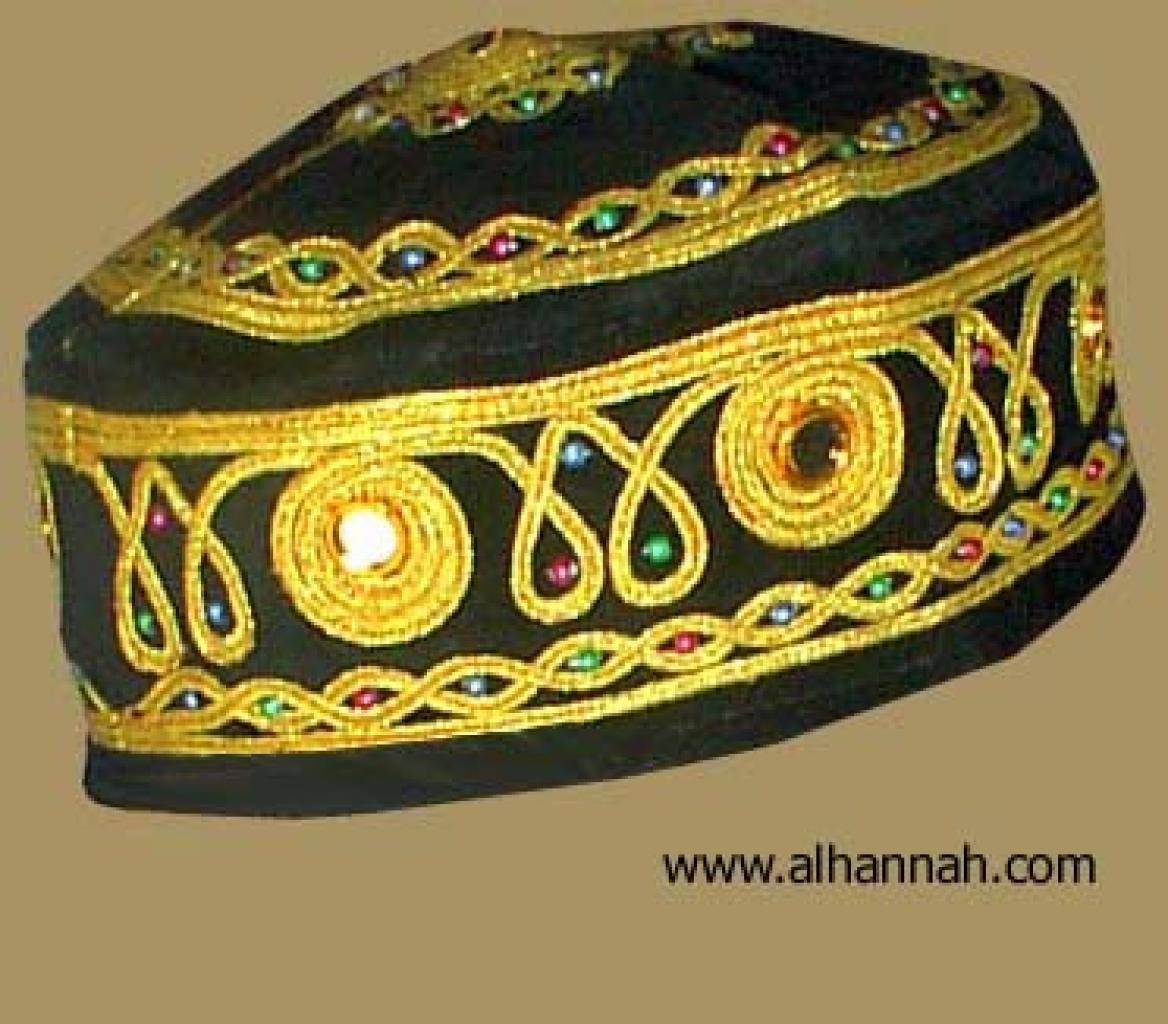 Velvet Pakistani Kufi with Traditional Ornamentation and Mirrorwork me427