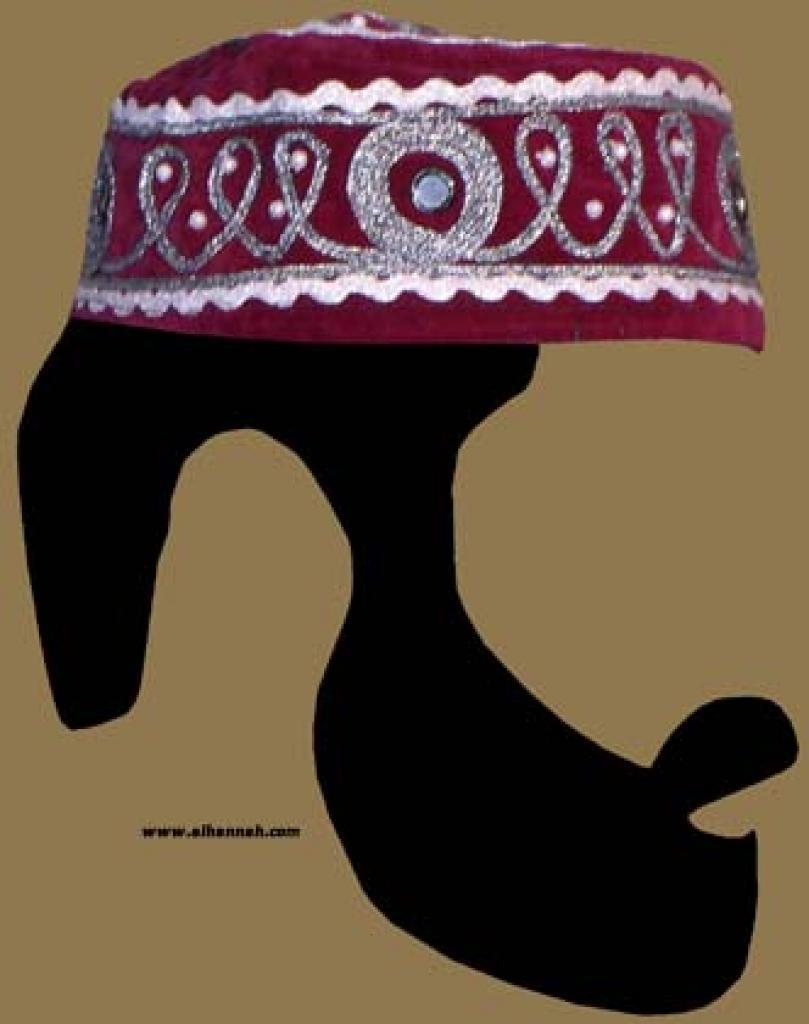 Velvet Pakistani Kufi with Traditional Ornamentation and Mirrorwork  me447