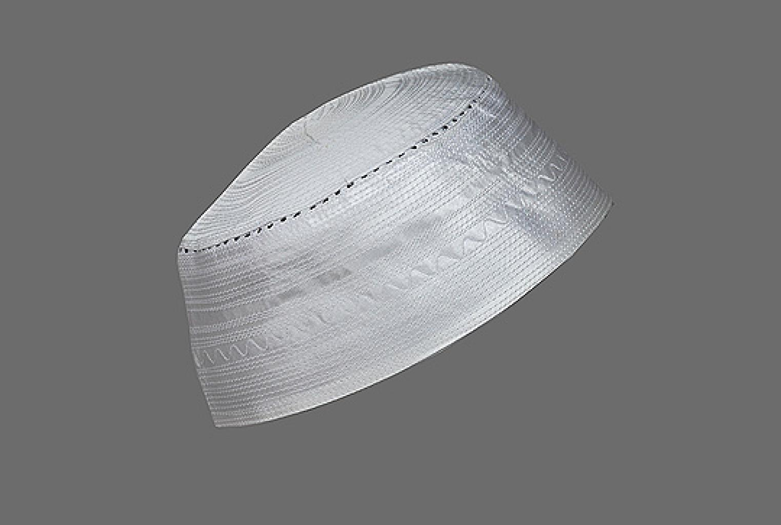 Men's Solid White Kufi with Embroidery me545