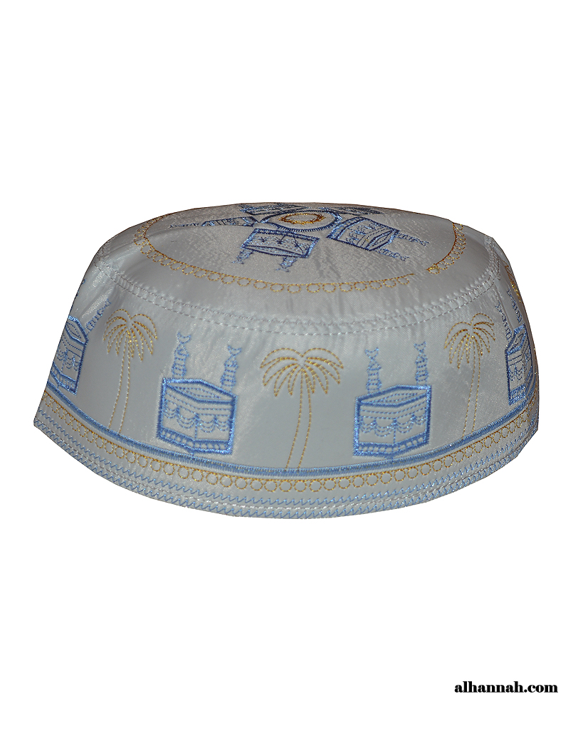 Men's Embroidered Kaaba with Palms Kufi me592