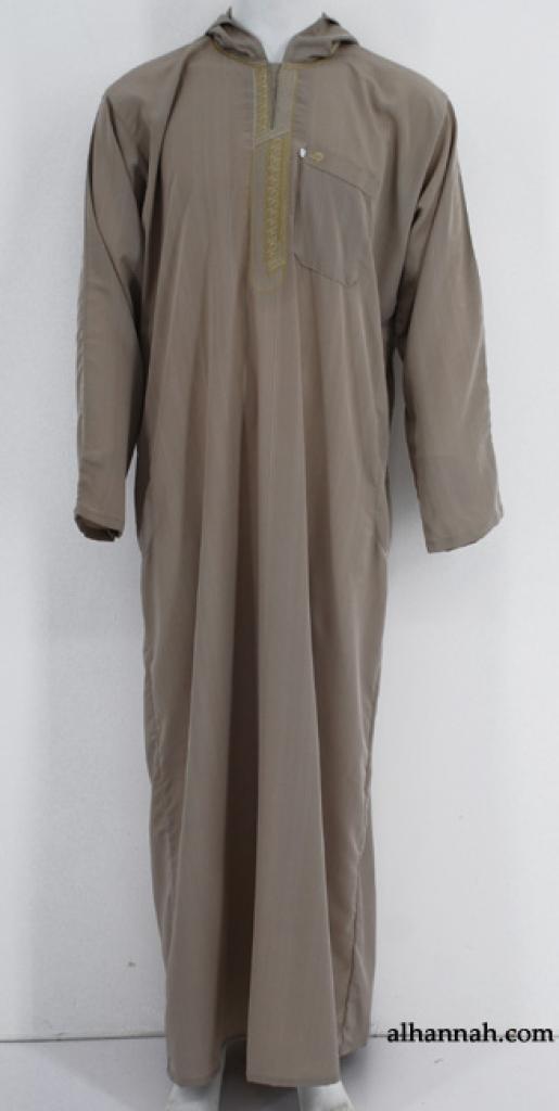 Deluxe Mens Moroccan Hooded Dishdasha  me599