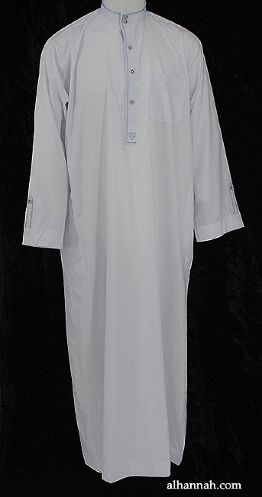 Deluxe Cotton-Blend Embroidered Saudi Dishdasha me609