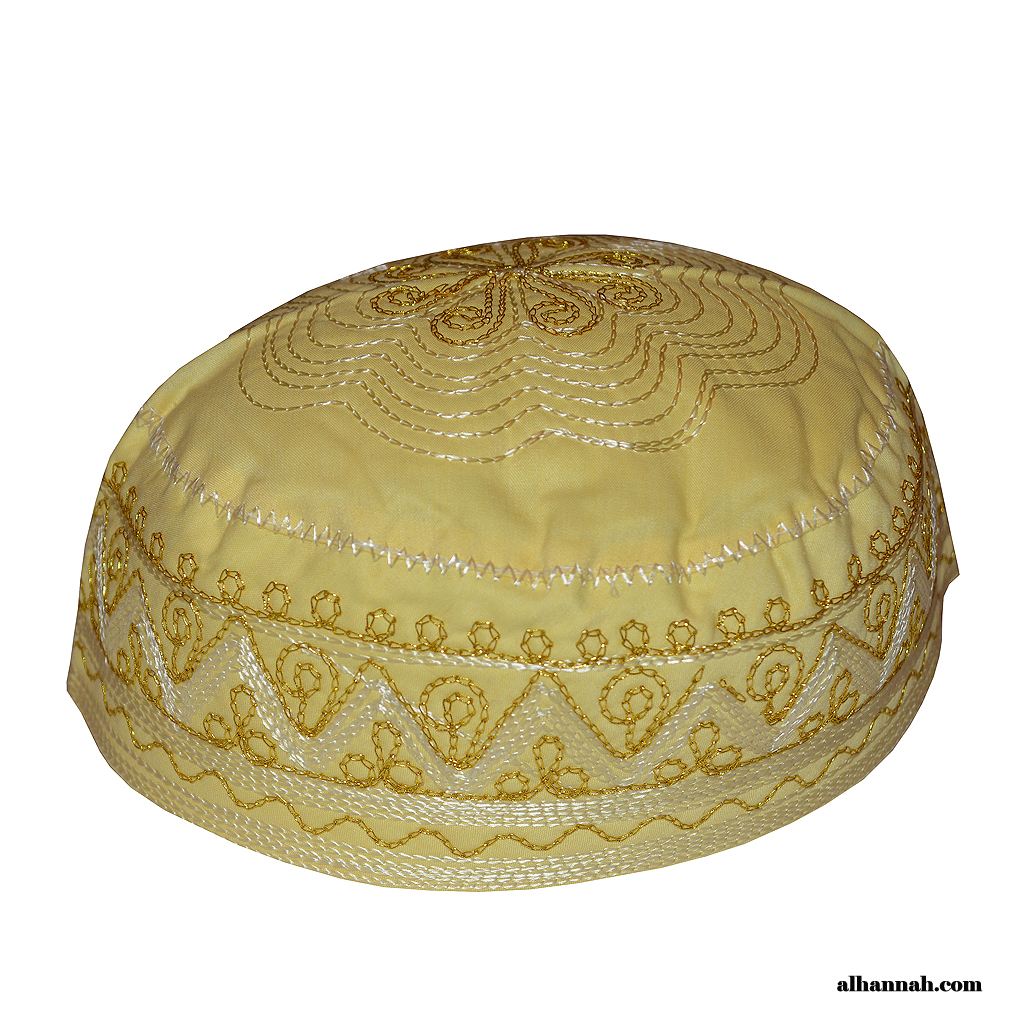 Gold Threaded Embroidered Prayer Cap me677