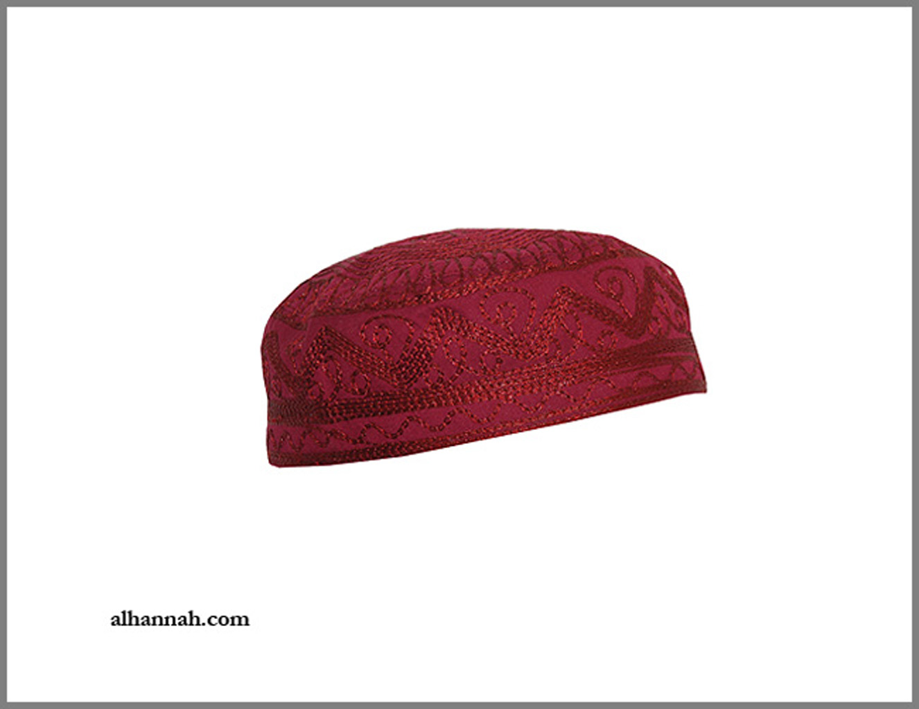 Mens Red Stitched Pattern Kufi me680
