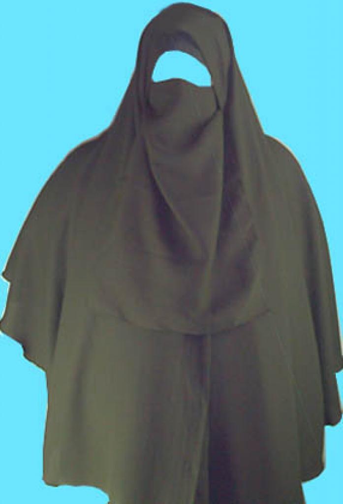 Three piece wrist length khimar niqab and underscarf set ni106