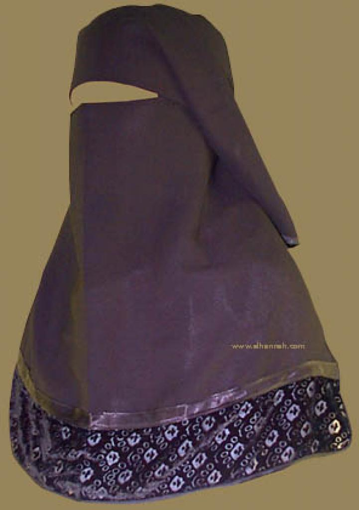 Double Layer Saudi Burqa with Velvet Lace Border - With Screen - No Nose String  ni112