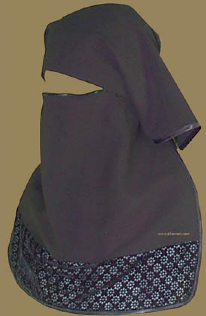Double Layer Saudi Burqa with Velvet Lace Border - With Screen - No Nose String   ni114