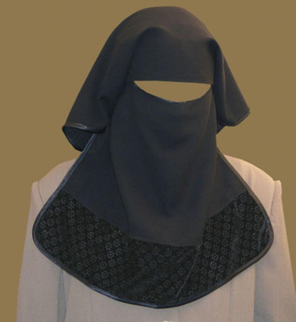 Double Layer Saudi Burqa with Velvet Lace Border - With Screen - No Nose String  ni126