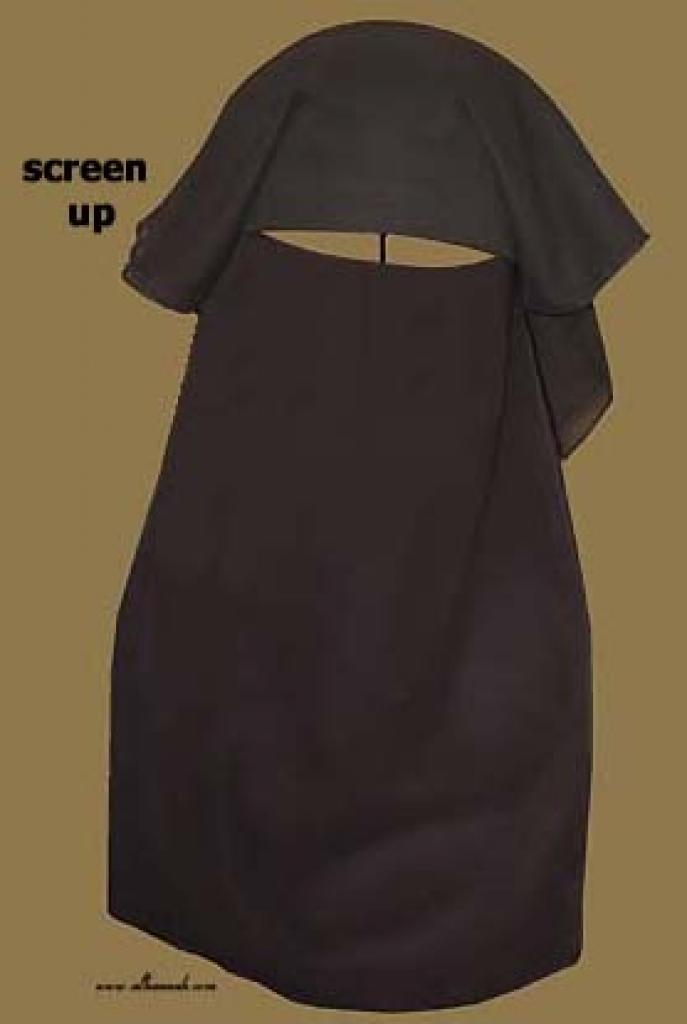 Traditional Saudi style triple layered burqa - with string ni132