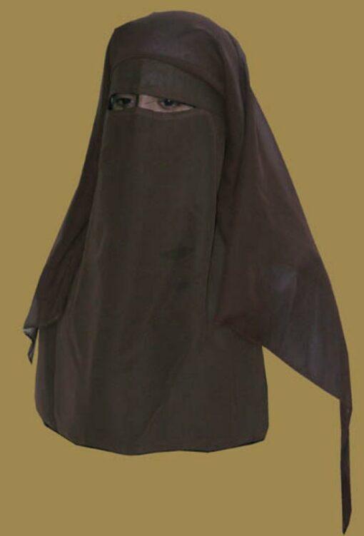 Traditional Saudi style triple layered burqa - with string ni133