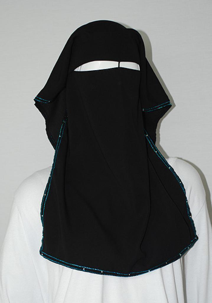 Sparkle Trimmed XL Multi-layer Burqa ni148