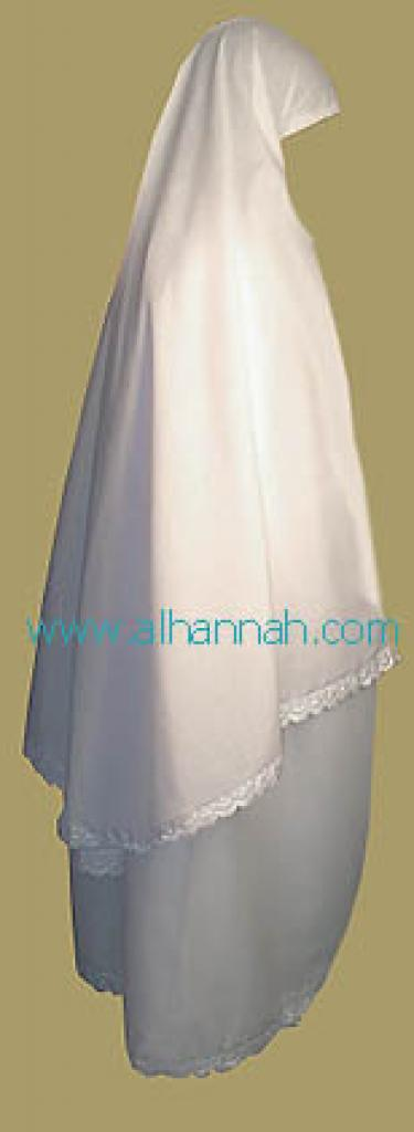 White Prayer Outfit Trimmed with Eyelet Lace  ps304