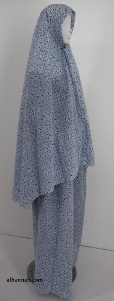 Contrasting Dot Printed Cotton Blend Prayer Outfit ps357