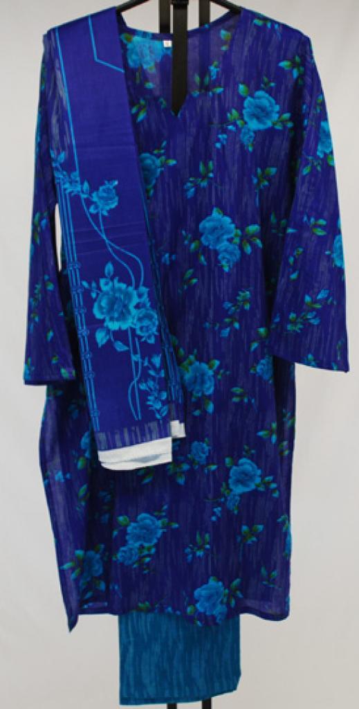 Blue Roses Printed Cotton Salwar Kameez sk1011