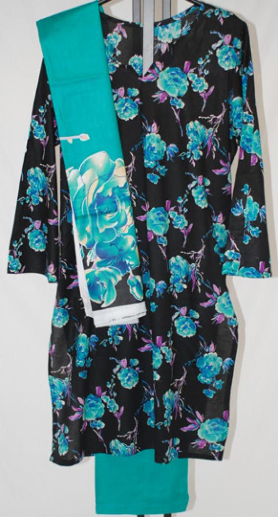 Turquoise Floral Printed Cotton Salwar Kameez sk1013