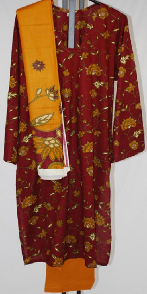 Maroon Floral Printed Cotton Salwar Kameez  sk1022