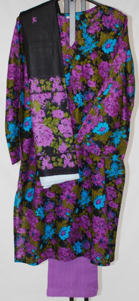 Violet Watercolor Printed Cotton Salwar Kameez  sk1024