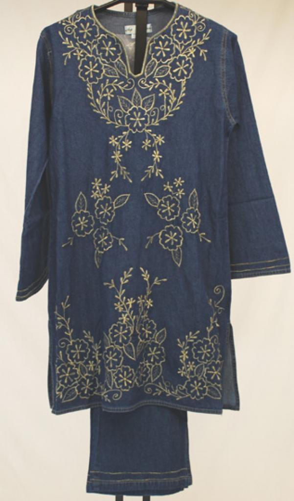 Floral Embroidered Denim Salwar Kameez  sk1027