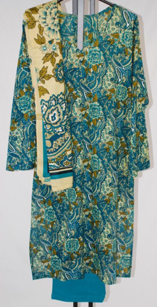 Vivid Paisley Print Cotton Salwar Kameez  sk1046