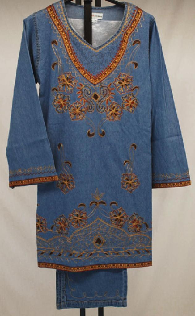 Paisley Floral Embroidered Denim Salwar Kameez  sk1053