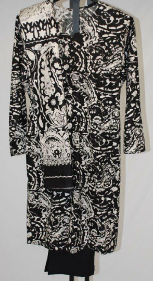 Abstract Black and White Print Salwar Kameez sk1057