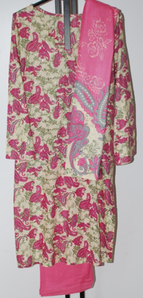 Pink Paisley Cotton Salwar Kameez sk1077
