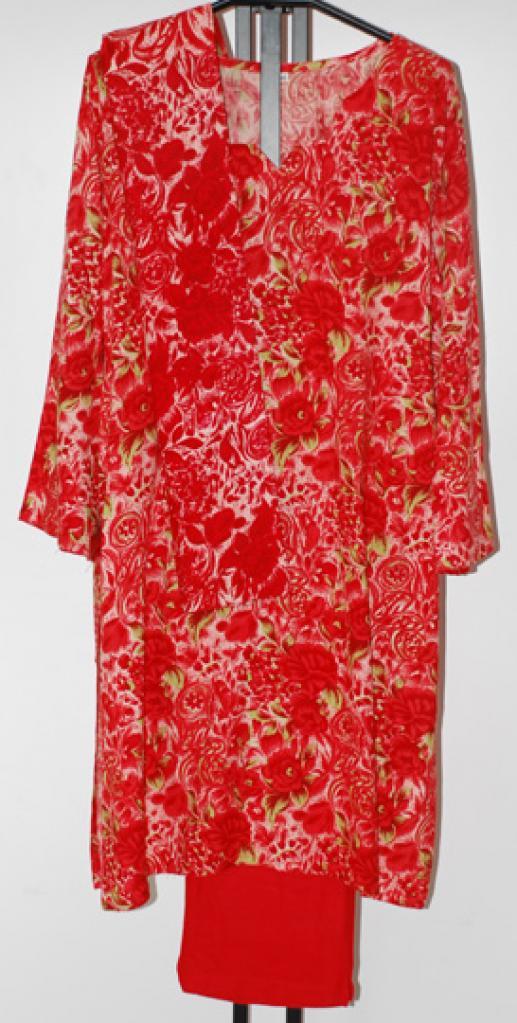 Red Floral Rayon Salwar Kameez sk1086
