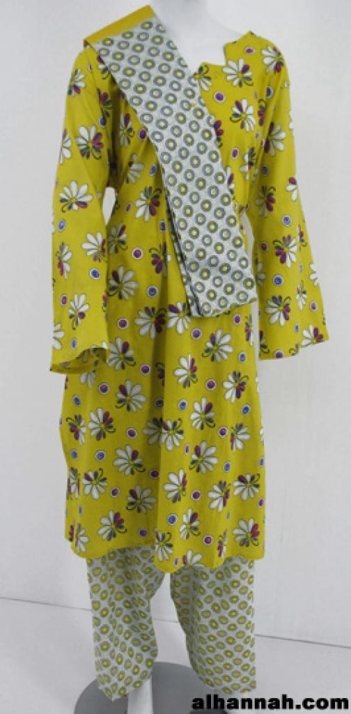 Abstract Floral Print Cotton Salwar Kameez  sk1140