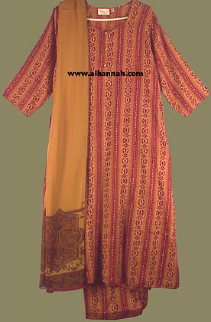 Red and Copper Print Salwar Kameez sk429