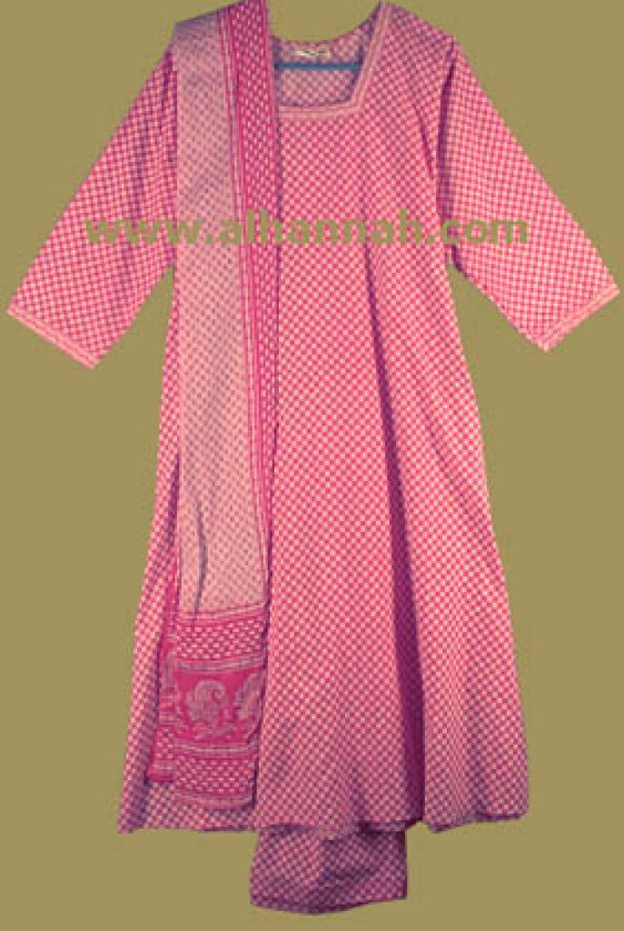 Pink and White Print Salwar Kameez sk433