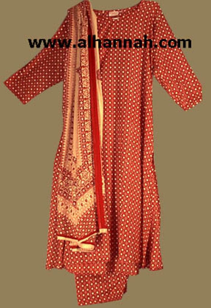 Red Print Salwar Kameez sk438
