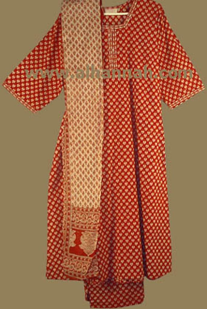 Red Print Salwar Kameez sk439