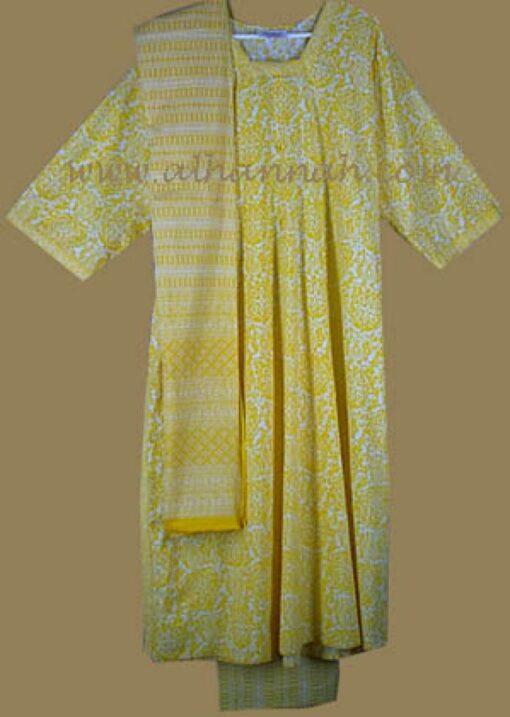 Yellow print salwar kameez sk453