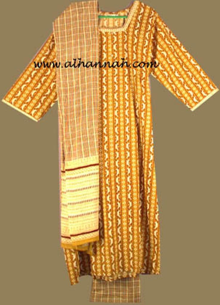 Gold and Red Print Salwar Kameez  sk457