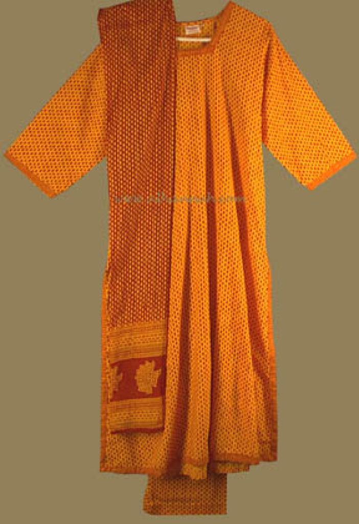 Traditional Copper/Red Print Salwar Kameez sk477